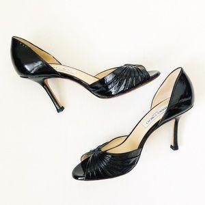 Jimmy Choo Black Leather D'Orsay Peep Toe Heels 7
